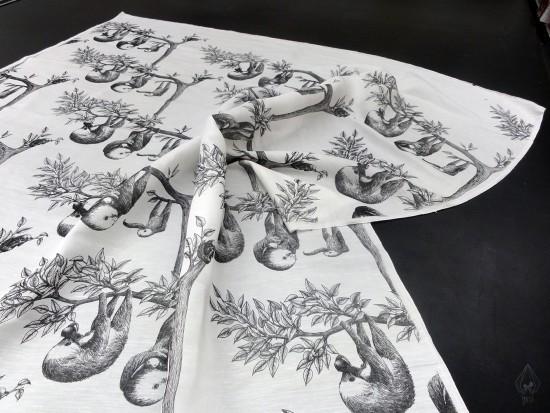 Sloth Family on silk linen