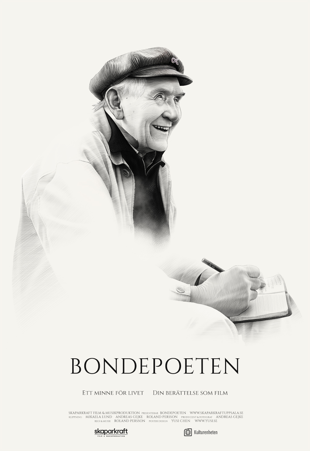Poster design for documentary BONDEPOETEN