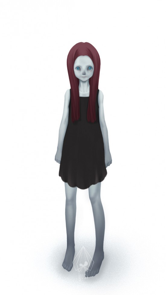 Concept for an undead red head girl.